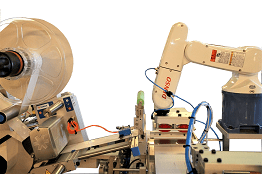 PPS A/S customized automation and robot labeling system - labeling equipment from Herma and automation robots from denso